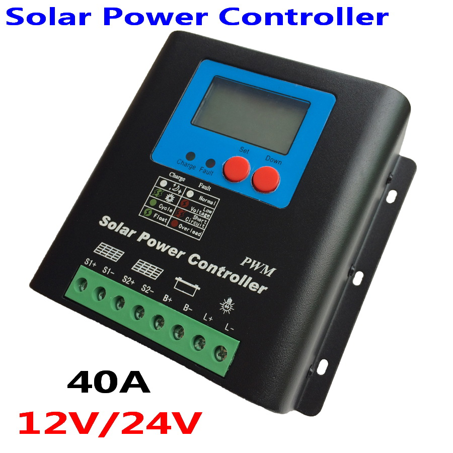 цена на Solar Charge Controller 40A 50A 60A 70A 80A 90A 100A Solar Charger, 12V 24V Auto-work Battery Regulator 40A Solar Controller