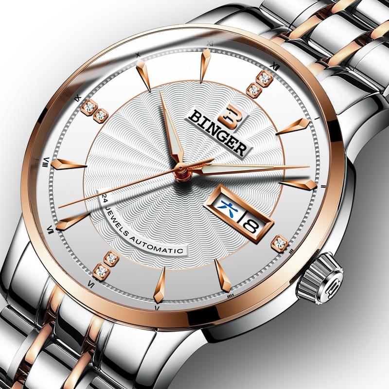 лучшая цена Switzerland BINGER Watch Men luxury brand Japan Seiko NH35A Automatic Mechanical Men's Watches Sapphire reloj hombre B1176G-5