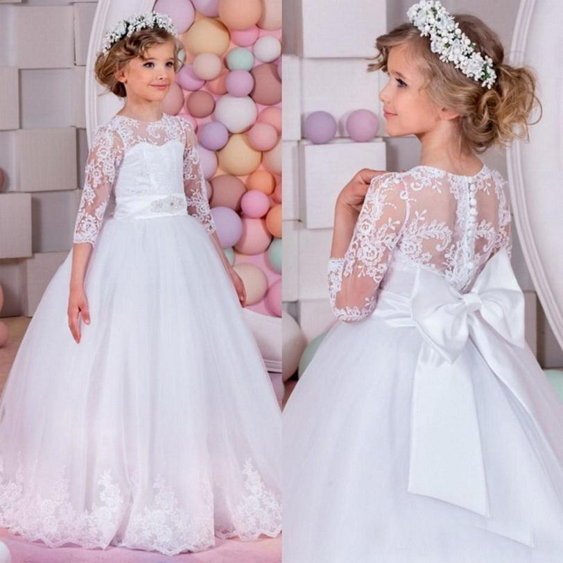 купить Long Sleeve Flower Girl Dresses for Weddings Mother Daughter Dress Communion Dress Girls Pageant Dresses for Little Girls Glitz дешево