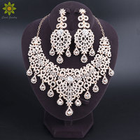 Fashion Gold Color Crystal Necklace Earrings Bridal Jewelry Sets For Brides Party Wedding Costume Accessories Decoration