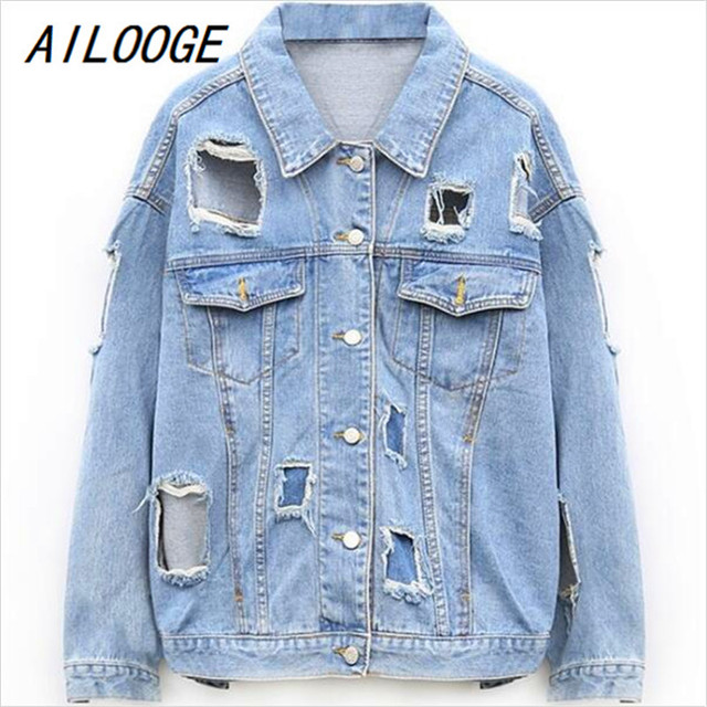 5fce0f4ed15 AILOOGE Women Denim Jacket 2017 Fashion Oversized Destroyed Outerwear Woman  Casual Distressed Vintage Big Hole Ripped Plus Size