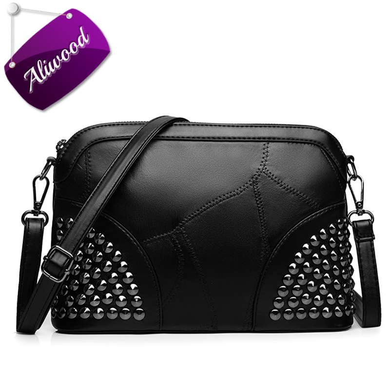 Aliwood New Shell Women Bag Genuine Leather Shoulder Bag Ladies' Handbag Female Messenger Bags Simple Rivet Crossbody Bags Bolsa 100% genuine leather women bags luxury serpentine real leather women handbag new fashion messenger shoulder bag female totes 3