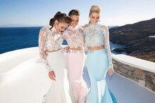New fashion vestido de festa high neck long sleeve 2 piece  party dresses 2015 open back long mermaid prom dresses 2 piece 2 2015