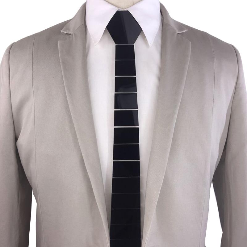 Handmade Plexiglass Glossy Black Men Fashion Necktie Striped Acrylic Neck Ties Black Slim Ties for Groom