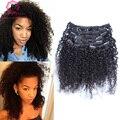 7А Афроамериканца Клип В Расширениях Человеческих Волос Кудрявый 3B 3C Curly Clip В Наращивание Волос 120 г 7 Шт./компл. Kiny Вьющиеся Клип Ins