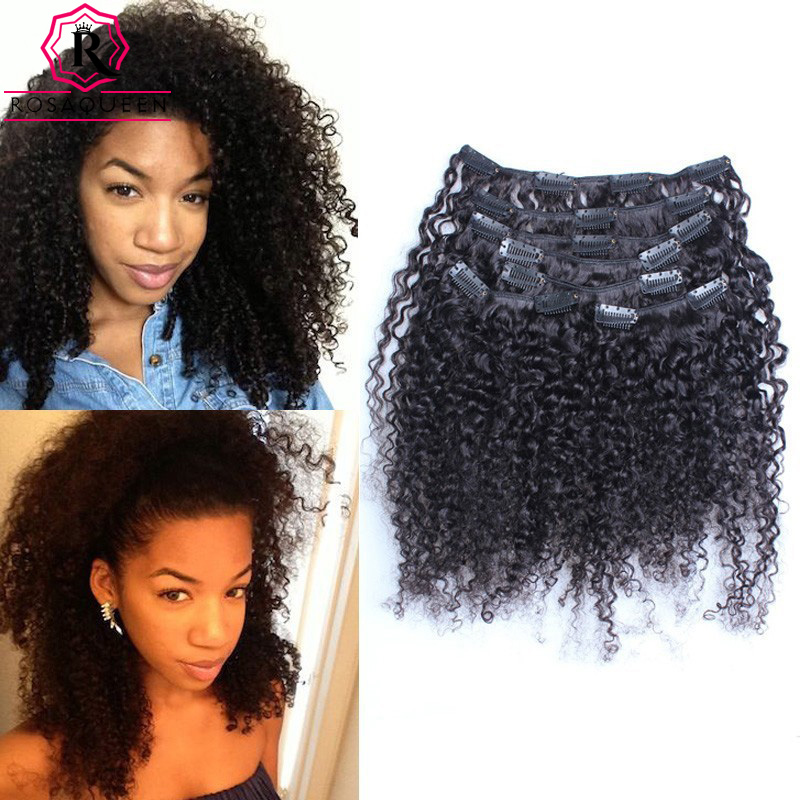 7A African American Clip In Human Hair Extensions 3B 3C Kinky Curly Clip In Hair Extensions 120g 7Pcs/set Kiny Curly Clip Ins