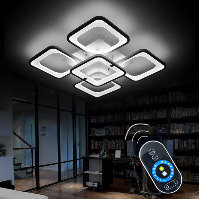 Remote Modern LED Ceiling Lights Fixture For Bedroom Dining Room Acrylic Lampshade Dimmable 15