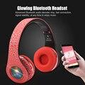 Оригинальный Беспроводной Стерео Bluetooth Гарнитура HiFi Наушники Складная СВЕТОДИОДНЫЕ Светящиеся Наушники с Микрофоном Micro SD/TF Музыка Fm-радио