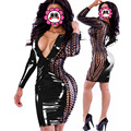 Free Size Fancy Dress 2016 Sexy Black/White Sexy Front Zipper Hollow Out Dress Deep V Neck Party Dress Club Wear PVC Costume