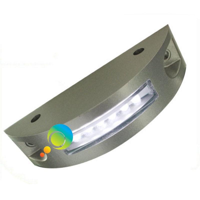 Flash Mode One Side White LED Flashing Light Semicircle Aluminum Road Stud Solar Power Road Reflector Stud