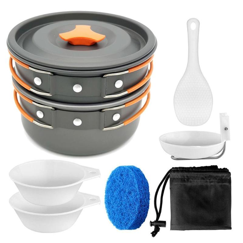 Camping Tableware Outdoor Cookware Protecting Pots and Pans Drainage Easy to Clean Picnic Pot Cutlery travel Hiking Utensils(China)
