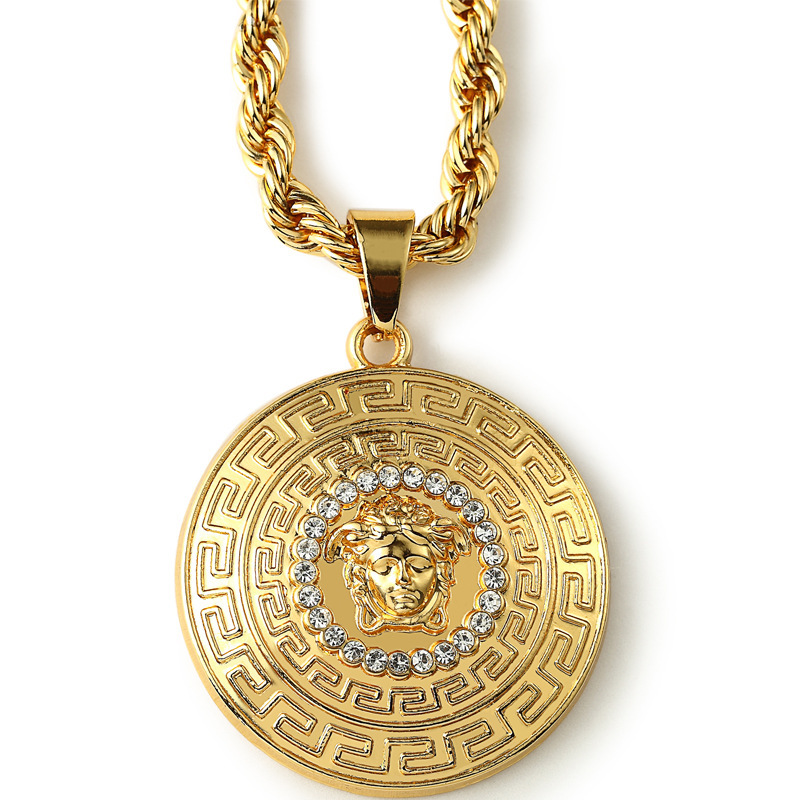 2015 new fashion design men necklace 24k gold pendant jewelry trendy 2015 new fashion design men necklace 24k gold pendant jewelry trendy hip hop head gold rhinestone necklace for men in chain necklaces from jewelry aloadofball Image collections
