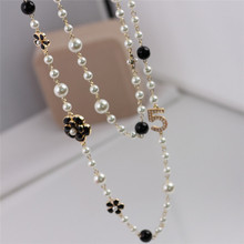 Brand Fashion Women CC Necklace For Women Sweater Chain Multi-layer Flower Pearl Necklaces pearl jewelry