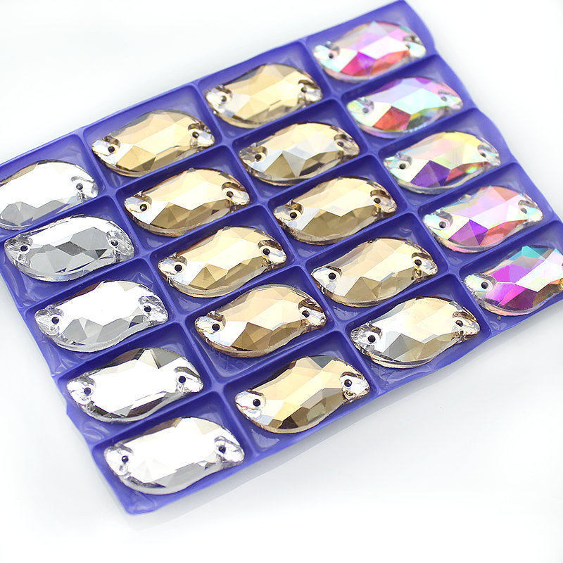Silver Base Clear Crystal AB Төсек Sew, Flatback S Shape Rhinestones үшін DIY киім, 20-100pcs / lot