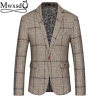Mwxsd men casual plaid Blazer mens suit Jacket slim fit blazer men classic business blazer for male big size 4xl 5xl masculino