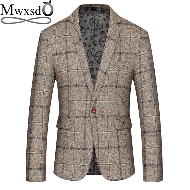 Mwxsd Men Casual Plaid Blazer Mens Suit Jacket Slim Fit Blazer Men Classic Business Blazer For Male Big Size 4xl 5xl Masculino