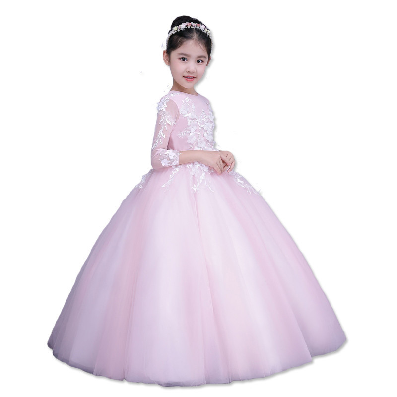 Children Girls Wedding Dresses Pink Fairy Long Wedding Dress Three Quarter Sleeves Long-Sleeve Lace for Girls E8 pink lace up design cold shoulder long sleeves hoodie dress