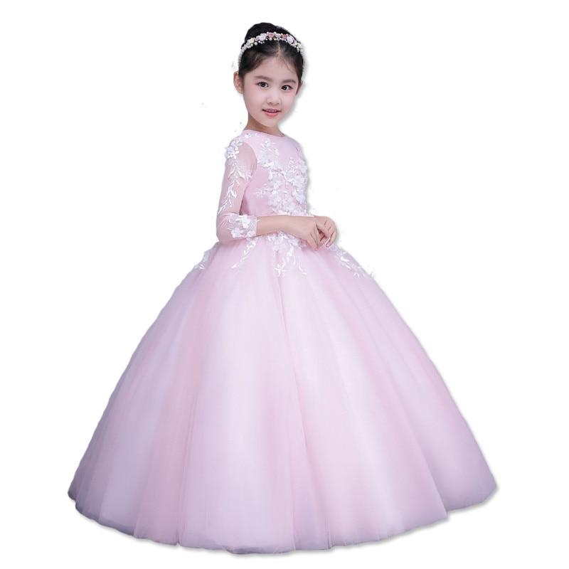 Children Girls Wedding Dresses Pink Fairy Long Wedding Dress Three Quarter Sleeves Long-Sleeve Lace for Girls E8 pink lace details cold shoulder long sleeves dress