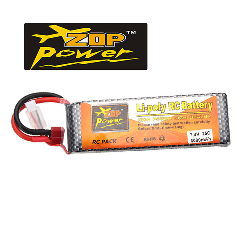 Rechargeable Lipo Battery ZOP Power 2S 7.4V 6000MAH 25C Lipo Battery T Plug vjoycar tk10sse 10000mah rechargeable removable battery
