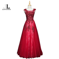 LOVONEY A Line O Neck Long Evening Dress With Appliques Beads Sexy Open Back Evening Gowns