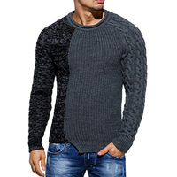 Puimentiua Men's sweater winter hip hop stitching round neck sweater large size pullover casual sweater
