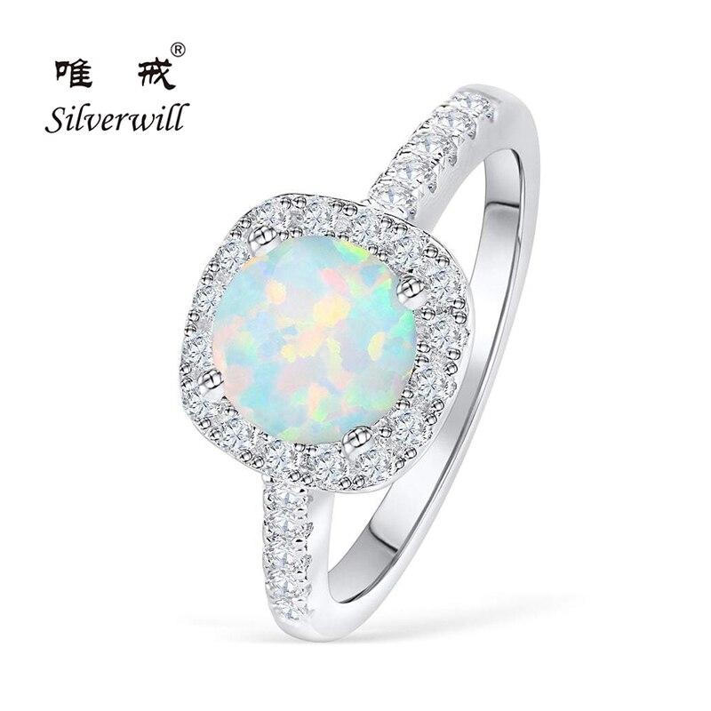 Silverwill élégante bague de fiançailles opale pour femmes halo 925 bague en argent sterling cadeau anniversaire unique bijoux 2019 moda