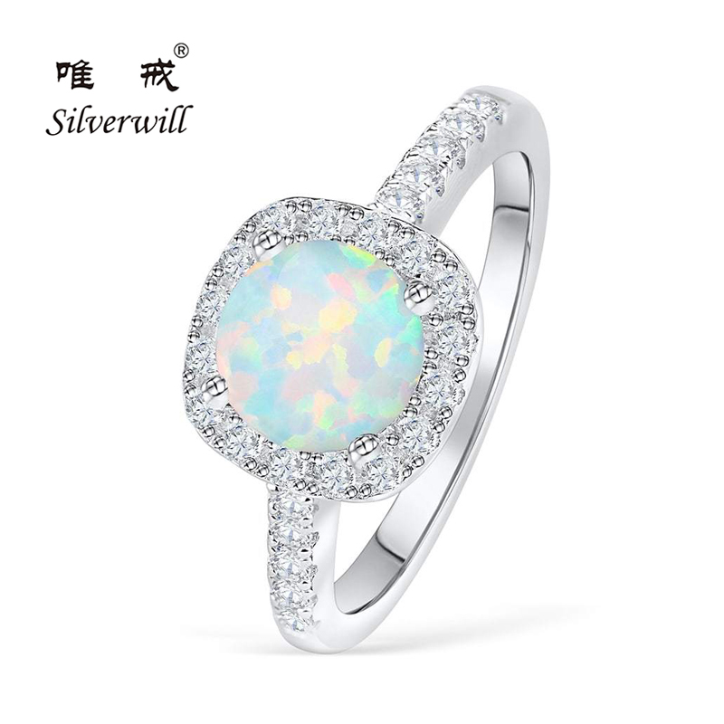 Silverwill Elegant opal engagement ring for women halo 925 sterling silver rings unique anniversary gift bijoux 2019 moda