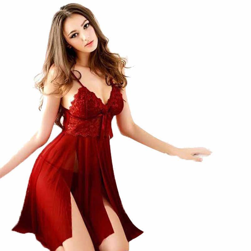 Сексуальное женское нижнее белье Ночное белье кружевное платье стринги ночное белье