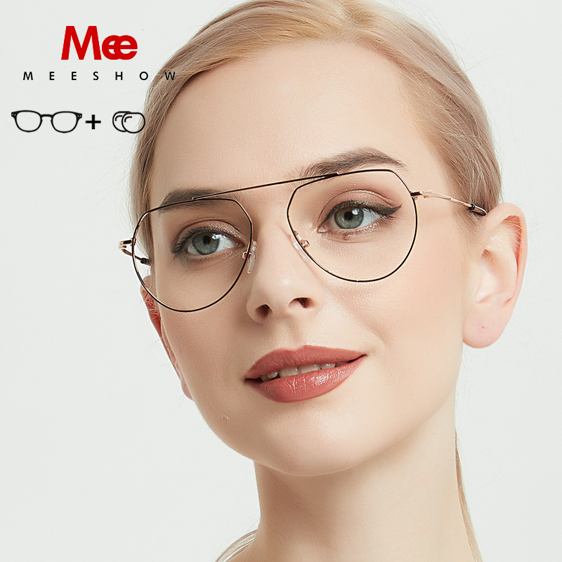 Prescription Glasses Titanium-Alloy Women's Spectacle-Frame Preogressive 1813 Retro Vintage