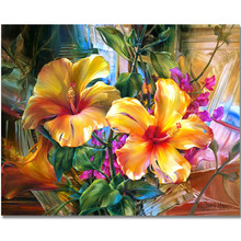 WEEN Yellow Flowers-Painting By Numbers,Frameworks coloring Paint by numbers,Wall Art Pictures, Canvas Modular painting 40X50CM