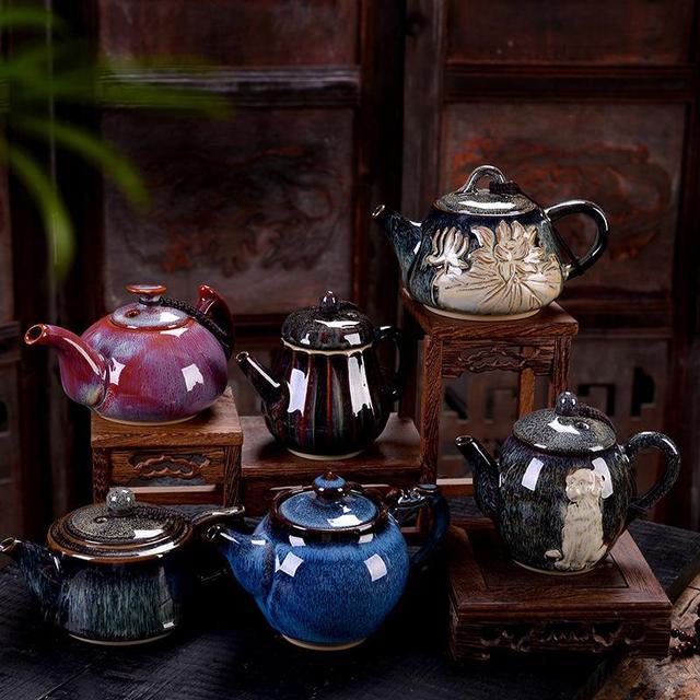 Bules de cerâmica Bule De Chá De Porcelana Kung Fu Jogo de Chá Chaleira Bule de Chá do Estilo Chinês Restaurante Do Hotel para Casa Jarro Jarro De Água Teaware