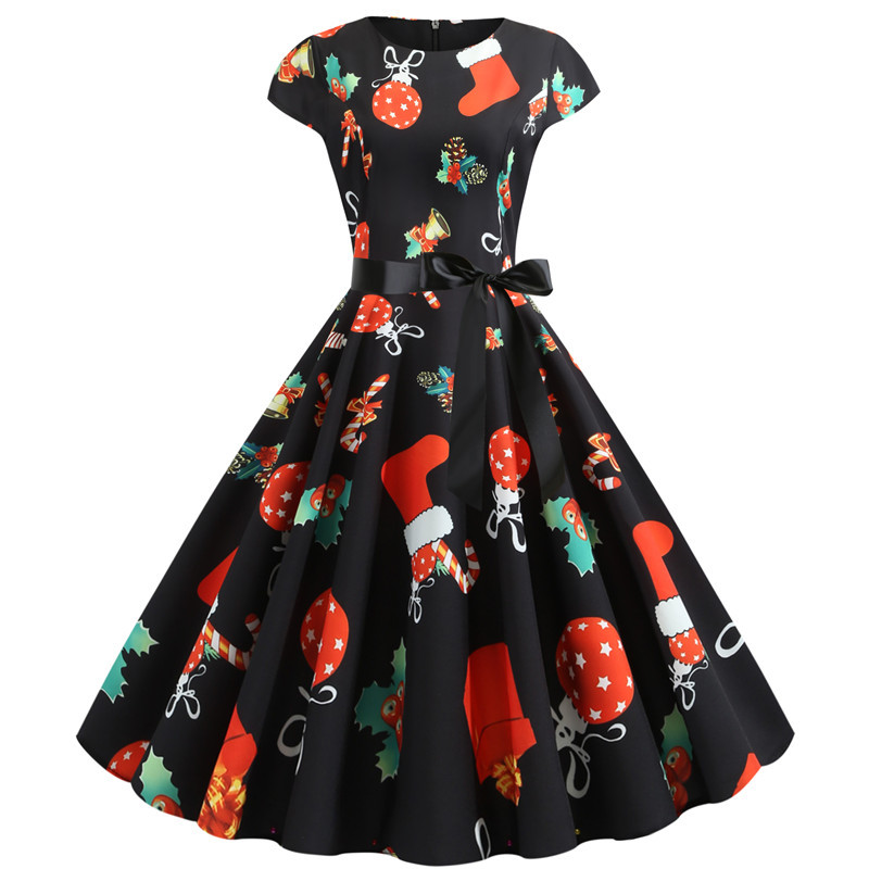 Women Christmas Party Dress robe femme Plus Size Elegant Vintage Short Sleeve Xmas Summer Dress Black Casual Midi Jurken Vestido 700