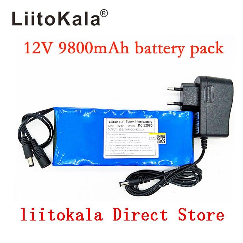 Liitokala New 12V 9800mAh battery pack lithium ion camera camera battery and 12.6V 1A charger eu / us plug