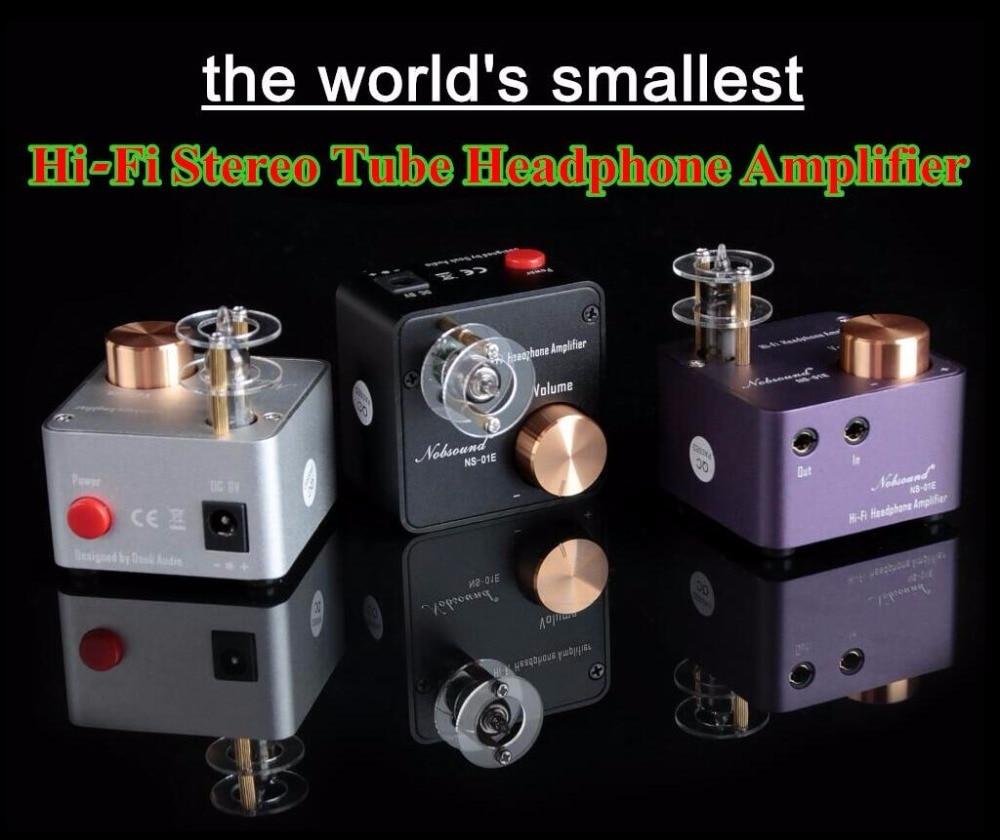 Latest Nobsound NS-01E Mini Tube Headphone Amplifier Stereo HiFi Amp Pre-Amplifier Free Shipping music hall latest 12ax7 vacuum tube pre amplifier hifi stereo valve pre amp audio processor pure handmade