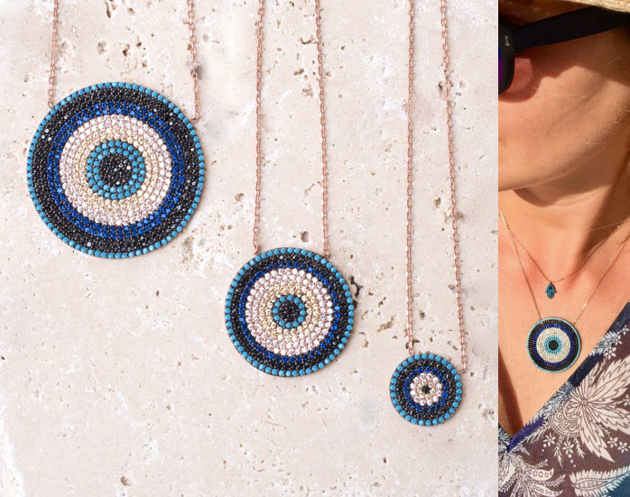 NEW Authentic turquoises turkish evil eye round fashion trendy girl lady micro pave cz fashion necklace