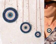 Collar de moda redonda con micro pavé de circonia cúbica, turquesas auténticas, turco, mal de ojo