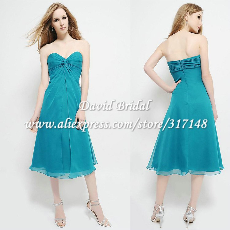 Affordable Yag709 Tea Length A Line Sweetheart Chiffon Turquoise Bridesmaid Dresses In From Weddings Events On Aliexpress Alibaba