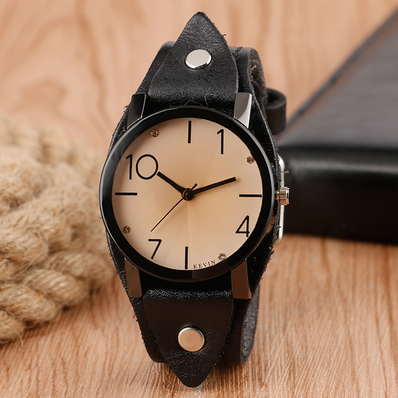 цена KEVIN Vintage Rock Quartz Women Watch Arabic Numbers Casual Leather Round Wristwatch Fashion Dress Watch Sport Men Relogio Gift