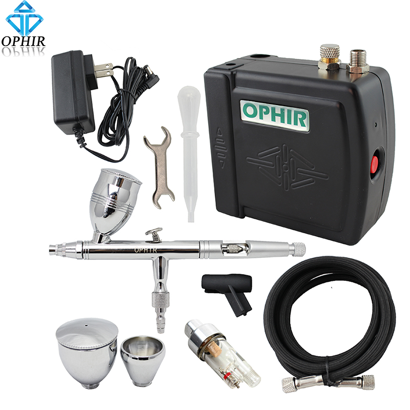 OPHIR Pro Airbrush Kit with Mini Air Compressor 0.5mm Dual Action Airbrush Spray Gun for Cake Decorating Nail Art _AC003+006+011 ophir professional dual action airbrush compressor kit with air tank for cake decorating model hobby tattoo  ac053 ac004 ac070