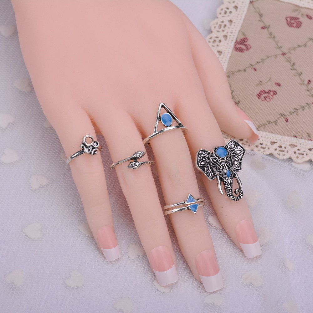 Bohemian Style 6pcs/Set Vintage Anti Silver Gold Rings Jewelry ...