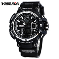 Top Brand YISUYA Cool Black & White Dive Diving Digital LCD Watches Men's Swimming Water Proof Wristwatch with Silicone Band