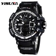 Top Brand YISUYA Enfriar Negro y Blanco LCD Digital Relojes de buceo de Buceo de Natación de Los Hombres A Prueba de Agua Reloj de Pulsera de Silicona banda