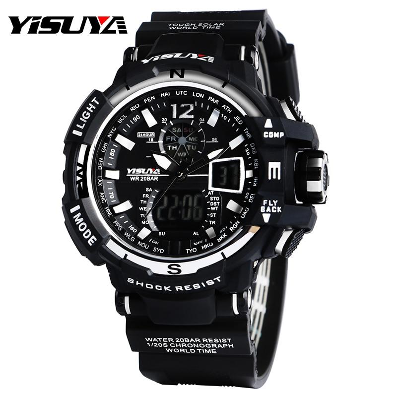 f4b4071468fb Top marca yisuya enfriar negro y blanco buceo LCD Digital relojes hombres  Natación a prueba de agua reloj con silicona banda