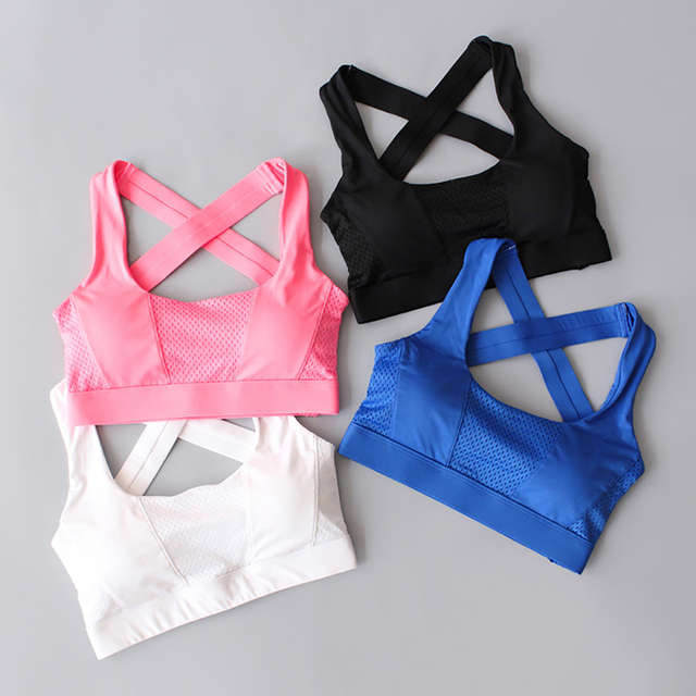 f6faf9cf06476 Cross Back Women Sports Bra For Running Gym Shakeproof Fitness Cropped Top  Exercise Yoga Bra