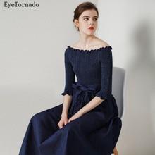 Plus size 2017 Women Spring Summer Fashion Brand Blue Sexy Slash Neck Long Casual Work Belted Beach Denim Jean Dress 9337