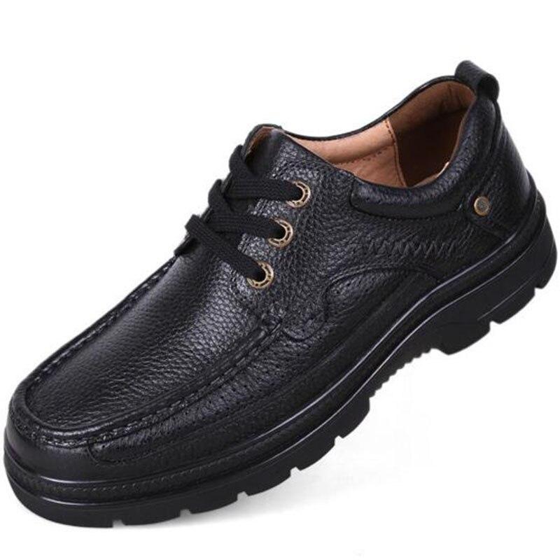 Couro Não Sapatos Pé Homens deslizamento 47 Dedo De Macio À Black Tamanho Água Respirável D' Vaca Genuíno Do Negócios Lace Buttom Sapatos 37 Redondo brown Vestido up Prova dwqYHYPtx