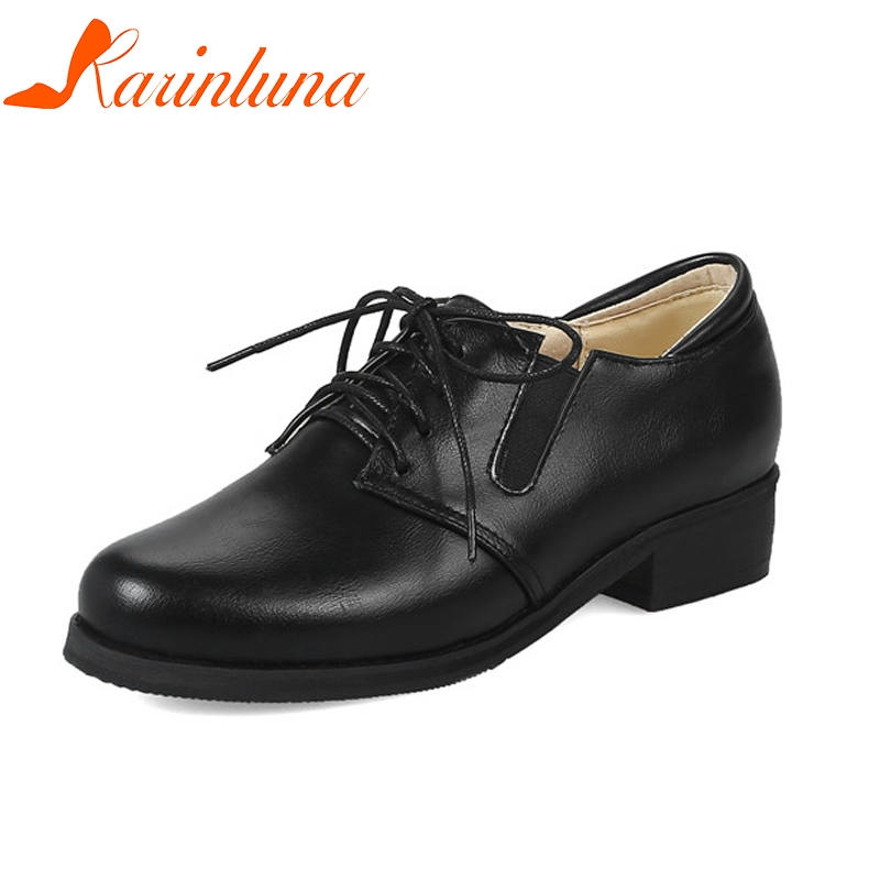KARINLUNA Womens Vintage Lace Up Rubber Sole Chunky Heels School Girl Shoes Woman Outside Oxfords Big Size 32-48