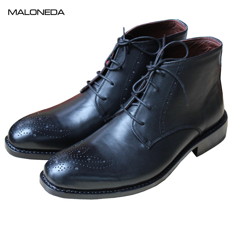 MALONEDE Bespoke High Quality Genuine Leather Male Handmade Goodyear Brogue Style Short Boots Black Color Dress BootsMALONEDE Bespoke High Quality Genuine Leather Male Handmade Goodyear Brogue Style Short Boots Black Color Dress Boots