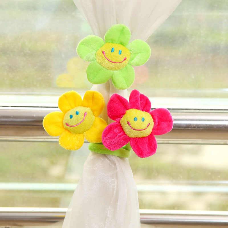 Разноцветные крглые солнцезащитные очки занавески с цветами мягкая застежка фланелет мультфильм детская комната аксессуар для штор украшения дома Tieback CP003