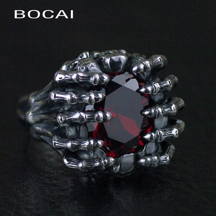 Thailand imports, 925 Sterling Silver Skull ghostcrawler Red Zircon Silver Ring thailand imports skull blood new skeleton silver ring